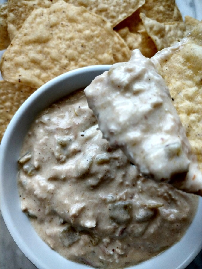 crock-pot green chile chicken enchilada dip